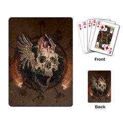 Awesome Creepy Skull With Rat And Wings Playing Card by FantasyWorld7