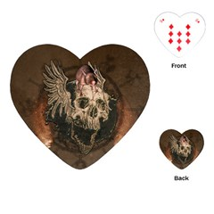 Awesome Creepy Skull With Rat And Wings Playing Cards (heart)  by FantasyWorld7