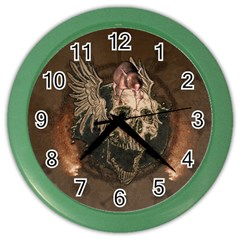 Awesome Creepy Skull With Rat And Wings Color Wall Clocks by FantasyWorld7