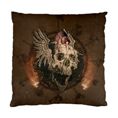 Awesome Creepy Skull With Rat And Wings Standard Cushion Case (two Sides) by FantasyWorld7