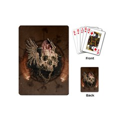 Awesome Creepy Skull With Rat And Wings Playing Cards (mini)  by FantasyWorld7