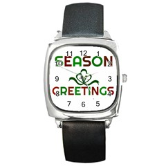 Season Greetings Square Metal Watch by Colorfulart23