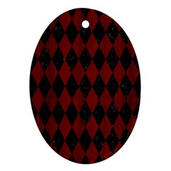 Diamond1 Black Marble & Reddish Brown Wood Ornament (oval)