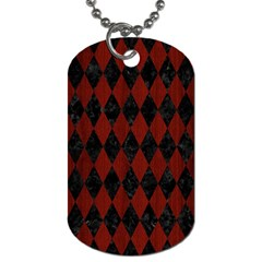 Diamond1 Black Marble & Reddish Brown Wood Dog Tag (two Sides) by trendistuff