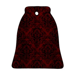Damask1 Black Marble & Reddish Brown Wood Bell Ornament (two Sides) by trendistuff