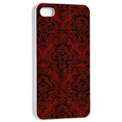Damask1 Black Marble & Reddish Brown Wood Apple Iphone 4/4s Seamless Case (white)