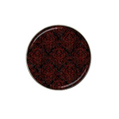Damask1 Black Marble & Reddish Brown Wood (r) Hat Clip Ball Marker by trendistuff