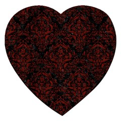 Damask1 Black Marble & Reddish Brown Wood (r) Jigsaw Puzzle (heart) by trendistuff