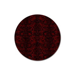 Damask2 Black Marble & Reddish Brown Wood Rubber Coaster (round)  by trendistuff