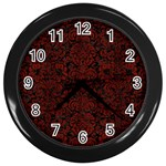 DAMASK2 BLACK MARBLE & REDDISH-BROWN WOOD (R) Wall Clocks (Black) Front