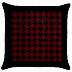 Houndstooth1 Black Marble & Reddish Brown Wood Throw Pillow Case (black) by trendistuff