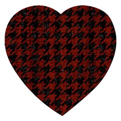 Houndstooth1 Black Marble & Reddish Brown Wood Jigsaw Puzzle (heart) by trendistuff