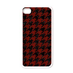 Houndstooth1 Black Marble & Reddish Brown Wood Apple Iphone 4 Case (white) by trendistuff
