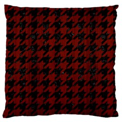 Houndstooth1 Black Marble & Reddish Brown Wood Large Flano Cushion Case (one Side) by trendistuff