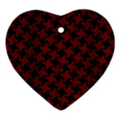 Houndstooth2 Black Marble & Reddish Brown Wood Heart Ornament (two Sides) by trendistuff