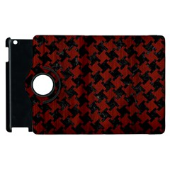 Houndstooth2 Black Marble & Reddish Brown Wood Apple Ipad 3/4 Flip 360 Case by trendistuff