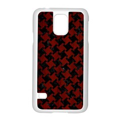 Houndstooth2 Black Marble & Reddish Brown Wood Samsung Galaxy S5 Case (white) by trendistuff