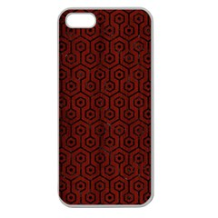 Hexagon1 Black Marble & Reddish Brown Wood Apple Seamless Iphone 5 Case (clear) by trendistuff