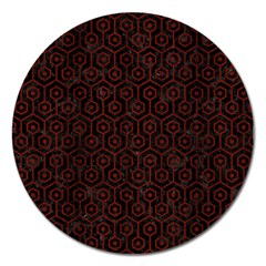 Hexagon1 Black Marble & Reddish Brown Wood (r) Magnet 5  (round) by trendistuff