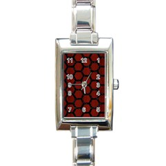 Hexagon2 Black Marble & Reddish Brown Wood Rectangle Italian Charm Watch by trendistuff