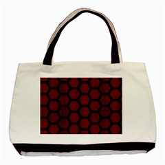 Hexagon2 Black Marble & Reddish Brown Wood Basic Tote Bag (two Sides) by trendistuff