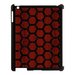 Hexagon2 Black Marble & Reddish Brown Wood Apple Ipad 3/4 Case (black) by trendistuff