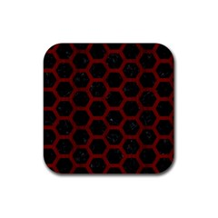 Hexagon2 Black Marble & Reddish Brown Wood (r) Rubber Coaster (square)  by trendistuff