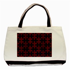 Puzzle1 Black Marble & Reddish Brown Wood Basic Tote Bag (two Sides) by trendistuff