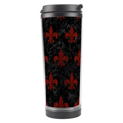 Royal1 Black Marble & Reddish Brown Wood Travel Tumbler by trendistuff