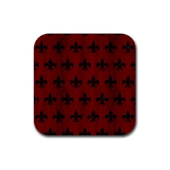 Royal1 Black Marble & Reddish Brown Wood (r) Rubber Square Coaster (4 Pack)  by trendistuff