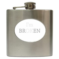 I Am Ok   Broken Hip Flask (6 Oz) by Valentinaart
