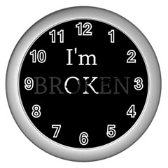 I Am Ok - Broken Wall Clocks (silver)  by Valentinaart