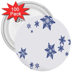 Star Snow Blue Rain Cool 3  Buttons (100 Pack)  by AnjaniArt