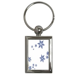 Star Snow Blue Rain Cool Key Chains (rectangle)  by AnjaniArt