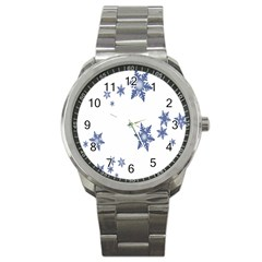 Star Snow Blue Rain Cool Sport Metal Watch by AnjaniArt