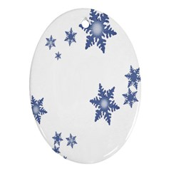 Star Snow Blue Rain Cool Oval Ornament (two Sides)