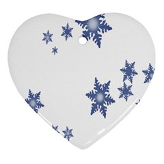 Star Snow Blue Rain Cool Heart Ornament (two Sides) by AnjaniArt