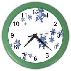 Star Snow Blue Rain Cool Color Wall Clocks by AnjaniArt