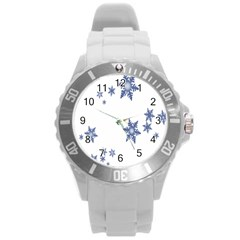 Star Snow Blue Rain Cool Round Plastic Sport Watch (l) by AnjaniArt