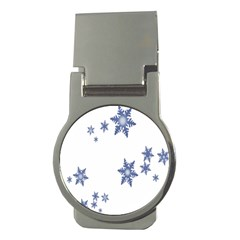 Star Snow Blue Rain Cool Money Clips (round)  by AnjaniArt