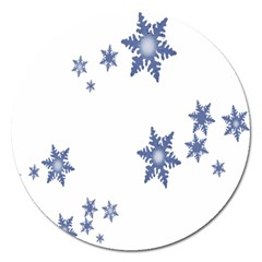 Star Snow Blue Rain Cool Magnet 5  (round) by AnjaniArt