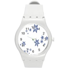 Star Snow Blue Rain Cool Round Plastic Sport Watch (m) by AnjaniArt