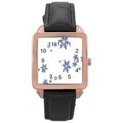 Star Snow Blue Rain Cool Rose Gold Leather Watch  by AnjaniArt