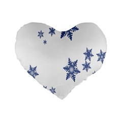 Star Snow Blue Rain Cool Standard 16  Premium Flano Heart Shape Cushions by AnjaniArt