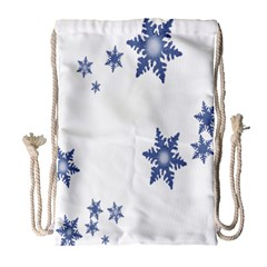 Star Snow Blue Rain Cool Drawstring Bag (large) by AnjaniArt
