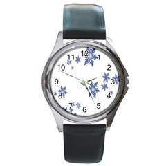Star Snow Blue Rain Cool Round Metal Watch by AnjaniArt