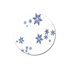 Star Snow Blue Rain Cool Magnet 3  (round) by AnjaniArt
