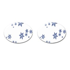 Star Snow Blue Rain Cool Cufflinks (oval) by AnjaniArt
