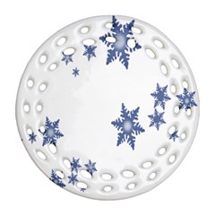 Star Snow Blue Rain Cool Round Filigree Ornament (two Sides)
