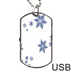Star Snow Blue Rain Cool Dog Tag Usb Flash (one Side) by AnjaniArt